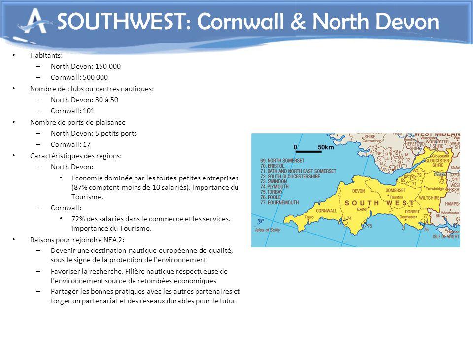 Habitants: – North Devon: 150 000 – Cornwall: 500 000 Nombre de clubs ou centres nautiques: – North Devon: 30 à 50 – Cornwall: 101 Nombre de ports de