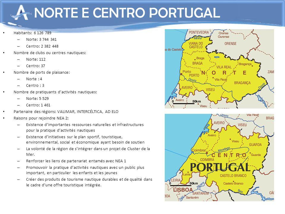 8 NORTE E CENTRO PORTUGAL Habitants: 6 126 789 – Norte: 3 744 341 – Centro: 2 382 448 Nombre de clubs ou centres nautiques: – Norte: 112 – Centro: 37
