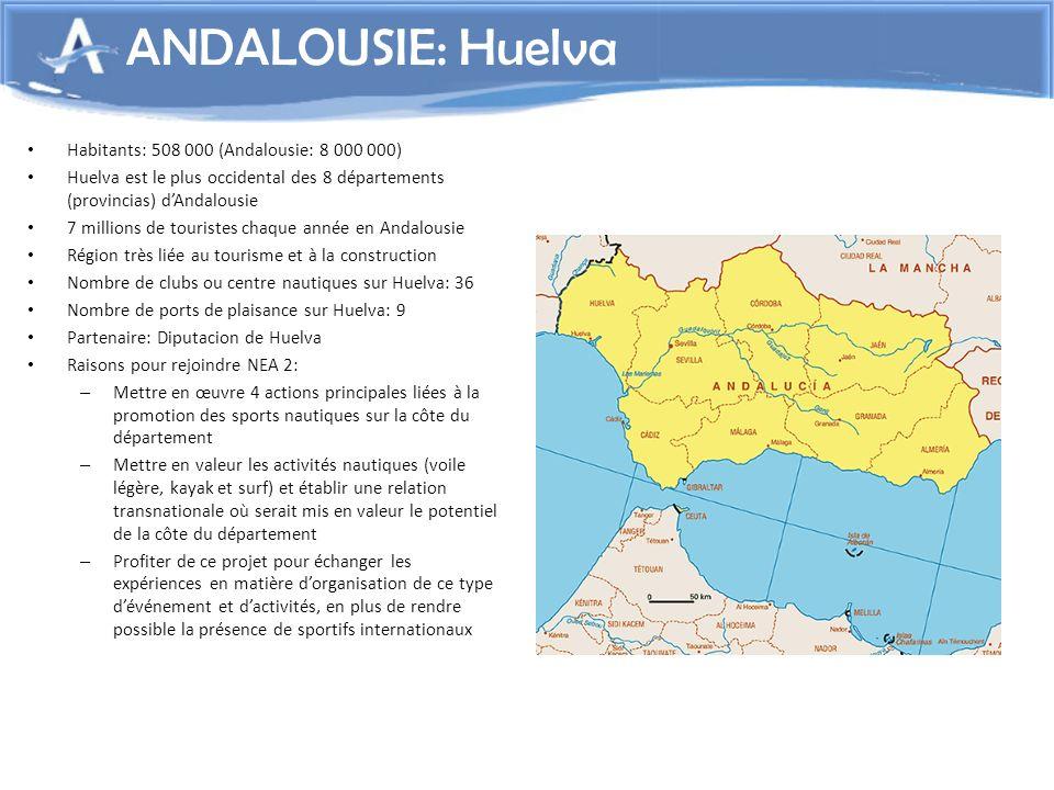 Habitants: 508 000 (Andalousie: 8 000 000) Huelva est le plus occidental des 8 départements (provincias) dAndalousie 7 millions de touristes chaque an