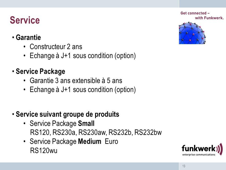 13 Service Service Package Garantie 3 ans extensible à 5 ans Echange à J+1 sous condition (option) Service suivant groupe de produits Service Package