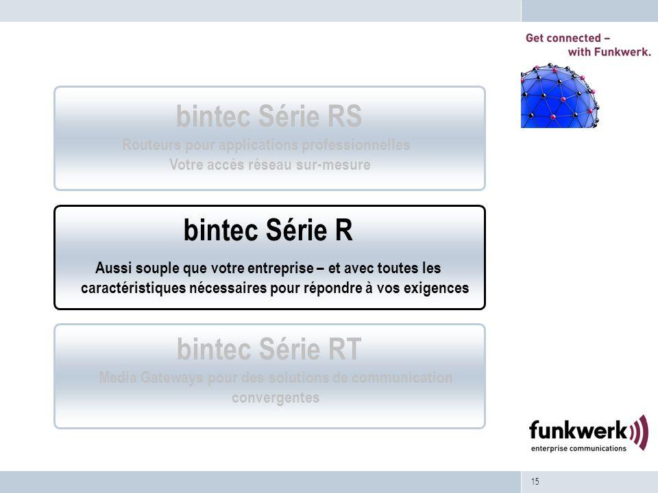 15 bintec Série RT Media Gateways pour des solutions de communication convergentes bintec Série R Aussi souple que votre entreprise – et avec toutes l
