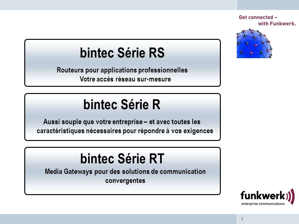 2 bintec Série RT Media Gateways pour des solutions de communication convergentes bintec Série R Aussi souple que votre entreprise – et avec toutes le