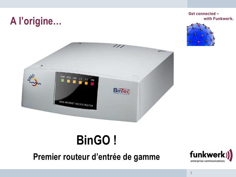 3 A lorigine… BinGO ! Premier routeur dentrée de gamme