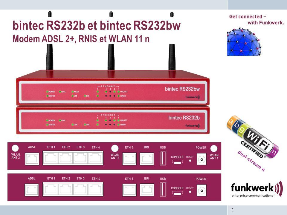 9 bintec RS232b et bintec RS232bw Modem ADSL 2+, RNIS et WLAN 11 n