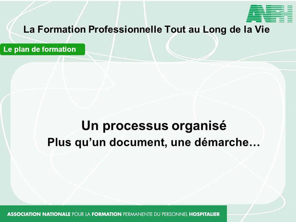 La Formation Professionnelle Tout au Long de la Vie Le plan de formation Un processus organisé Plus quun document, une démarche…