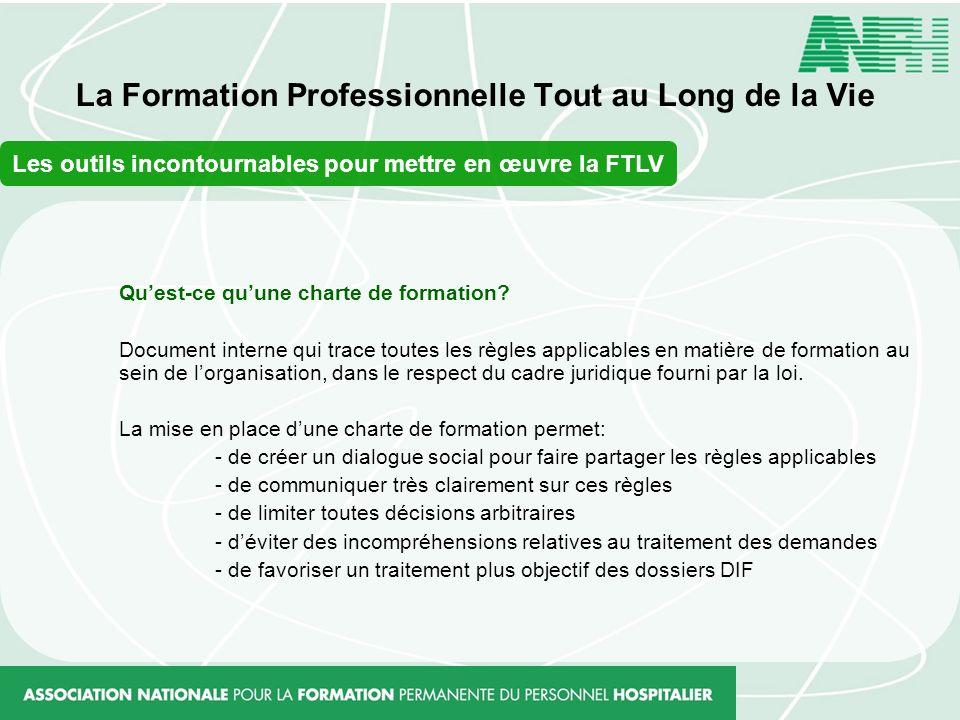La Formation Professionnelle Tout au Long de la Vie Les outils incontournables pour mettre en œuvre la FTLV Quest-ce quune charte de formation? Docume