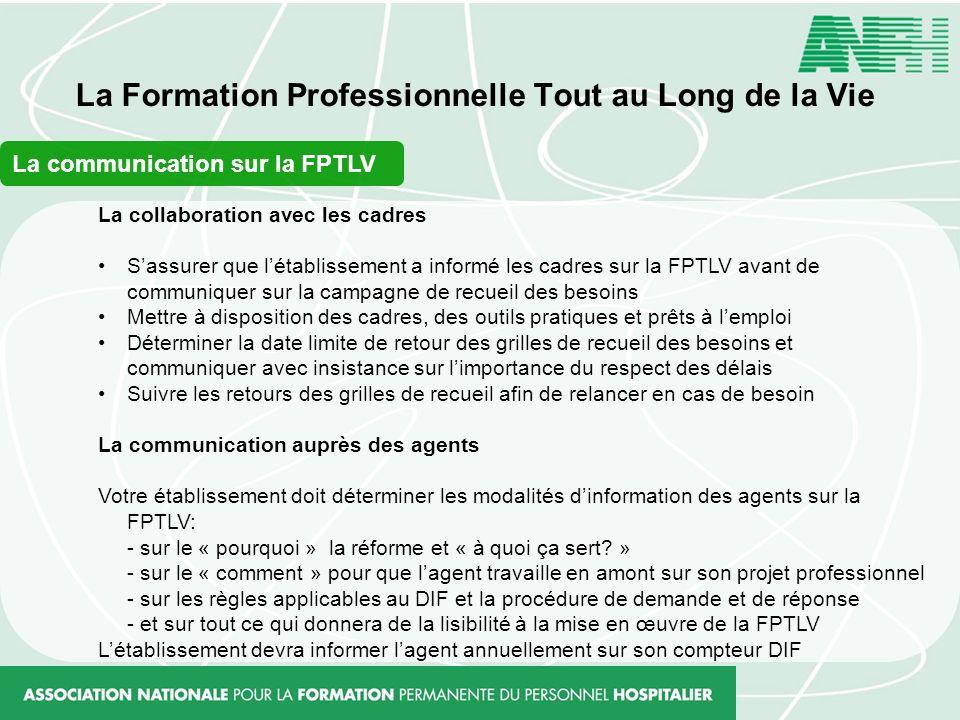 La Formation Professionnelle Tout au Long de la Vie La collaboration avec les cadres Sassurer que létablissement a informé les cadres sur la FPTLV ava