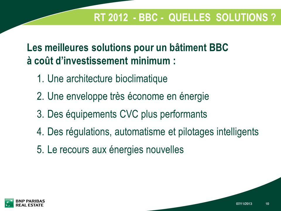 07/11/201310 RT 2012 - BBC - QUELLES SOLUTIONS ? 1. Les meilleures solutions pour un bâtiment BBC à coût dinvestissement minimum : 1.Une architecture