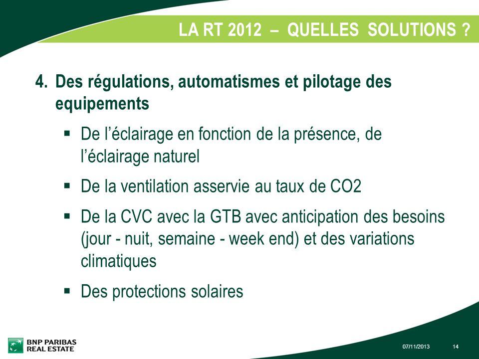 07/11/201314 LA RT 2012 – QUELLES SOLUTIONS ? 1. 4. Des régulations, automatismes et pilotage des equipements De léclairage en fonction de la présence
