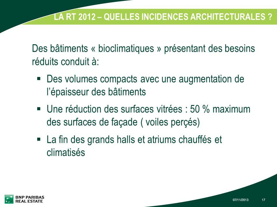 07/11/201317 LA RT 2012 – QUELLES INCIDENCES ARCHITECTURALES ? 1. Des bâtiments « bioclimatiques » présentant des besoins réduits conduit à: Des volum