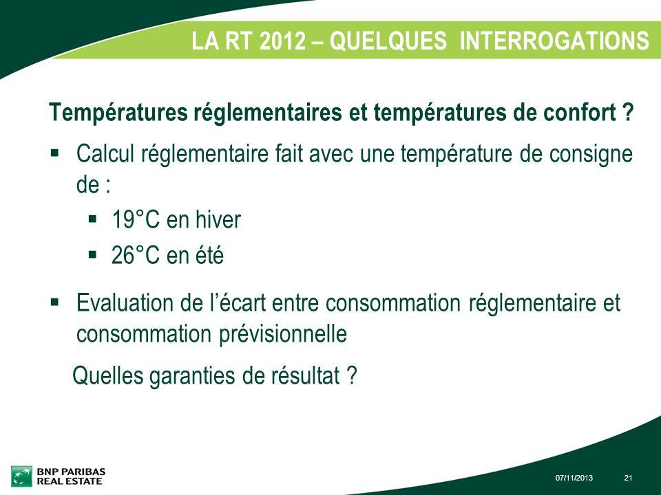 07/11/201321 LA RT 2012 – QUELQUES INTERROGATIONS 1. Températures réglementaires et températures de confort ? Calcul réglementaire fait avec une tempé