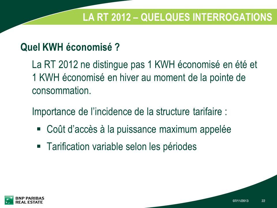 07/11/201322 LA RT 2012 – QUELQUES INTERROGATIONS 1. Quel KWH économisé ? La RT 2012 ne distingue pas 1 KWH économisé en été et 1 KWH économisé en hiv