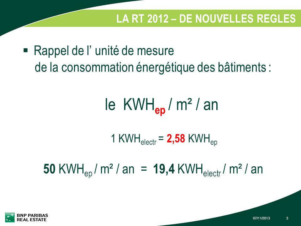 07/11/20133 LA RT 2012 – DE NOUVELLES REGLES 1. Rappel de l unité de mesure de la consommation énergétique des bâtiments : le KWH ep / m² / an 1 KWH e
