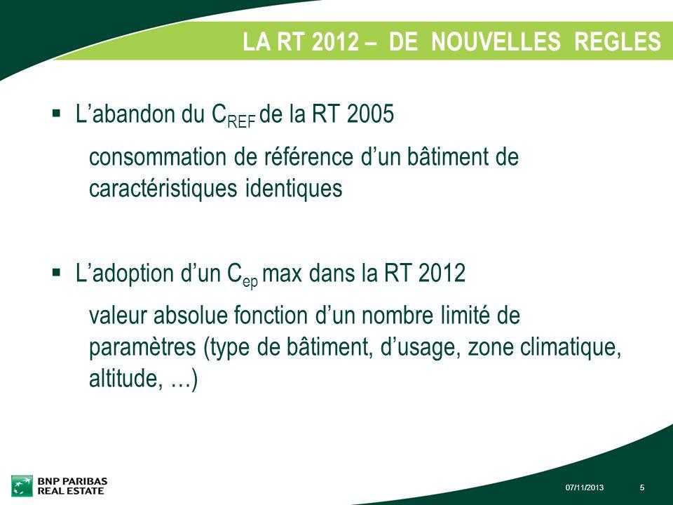 07/11/20135 LA RT 2012 – DE NOUVELLES REGLES 1. Labandon du C REF de la RT 2005 consommation de référence dun bâtiment de caractéristiques identiques