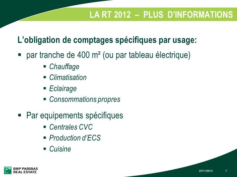 07/11/20137 LA RT 2012 – PLUS DINFORMATIONS 1. Lobligation de comptages spécifiques par usage: par tranche de 400 m² (ou par tableau électrique) Chauf