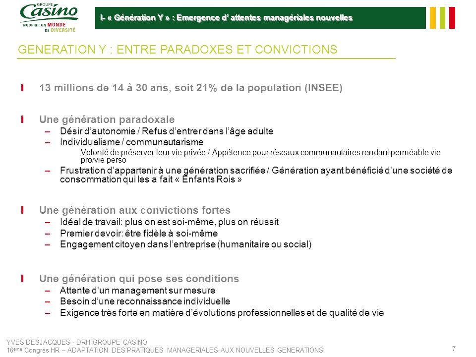 YVES DESJACQUES - DRH GROUPE CASINO 16 ème Congrès HR – ADAPTATION DES PRATIQUES MANAGERIALES AUX NOUVELLES GENERATIONS 8 Peu de ressources disponibles –Tensions sur le marché des cadres Taux de chômage des cadres en France de 3,3% Taux de chômage historiquement bas en Asie du Sud Est (Vietnam: 5,1% et en Thaïlande: 1,4%) –CIA world Factbook et Mission Economiques), (Les Echos, 08/2008) –Tensions sur le marché des Jeunes Diplômés de Grandes Ecoles Promotion HEC 2008: 490 Jeunes Diplômés/ 6665 offres de premier emploi Surenchères sur les potentiels et les dirigeants –Salaires jeunes diplômés: inflation de 3 à 10% par an depuis deux ans (en fonction des Ecoles) –Augmentation du temps moyen de recrutement Difficulté croissante dembaucher de nouveaux Talents & Potentiels Nécessité de se différencier pour attirer MARCHE DE LEMPLOI SOUS TENSION: LA GUERRE DES TALENTS I- « Génération Y » : Emergence d attentes managériales nouvelles