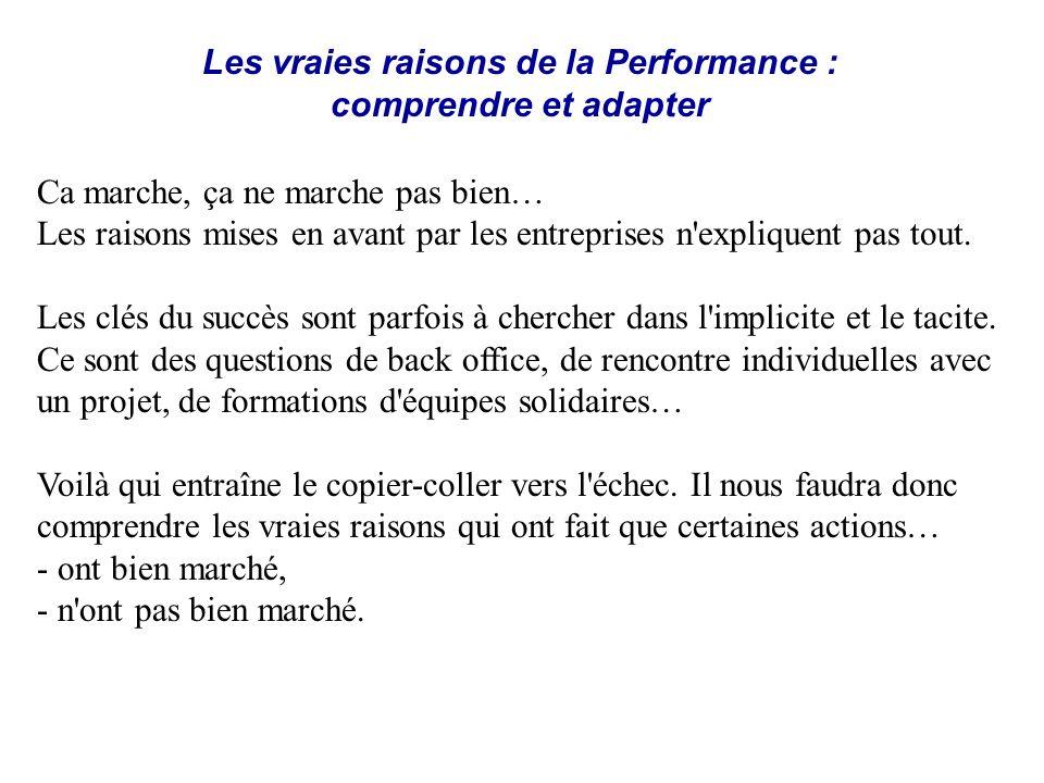 Les vraies raisons de la Performance : comprendre et adapter Ca marche, ça ne marche pas bien… Les raisons mises en avant par les entreprises n'expliq