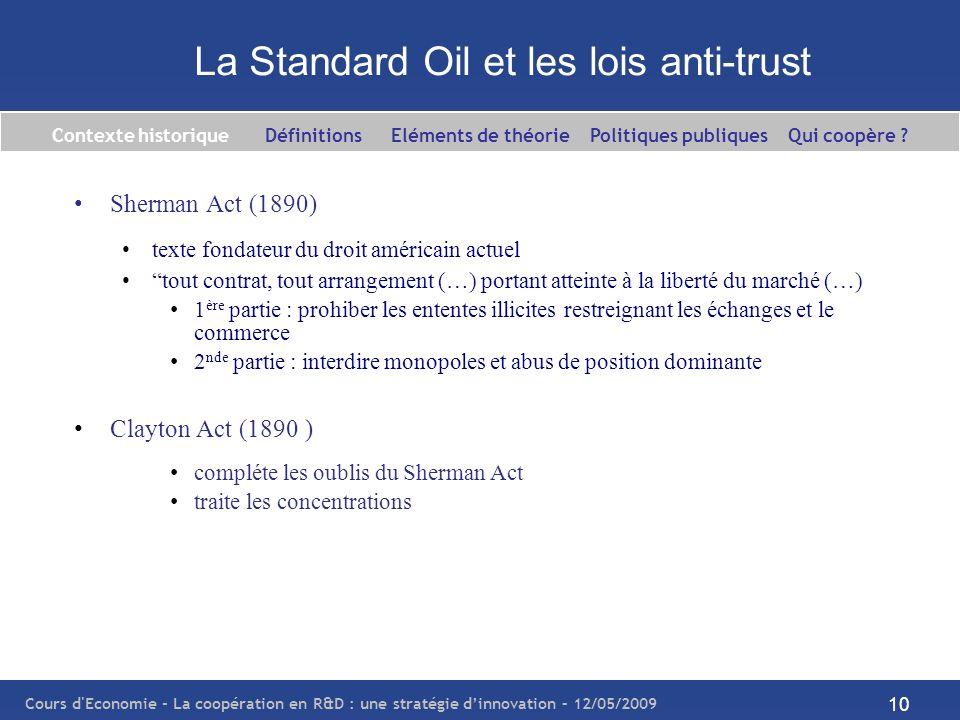 Cours d'Economie - La coopération en R&D : une stratégie dinnovation – 12/05/2009 10 La Standard Oil et les lois anti-trust Sherman Act (1890) texte f