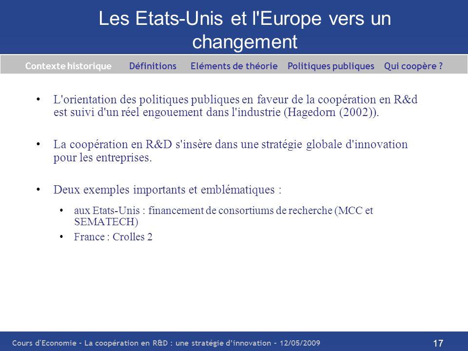 Cours d'Economie - La coopération en R&D : une stratégie dinnovation – 12/05/2009 17 Les Etats-Unis et l'Europe vers un changement L'orientation des p