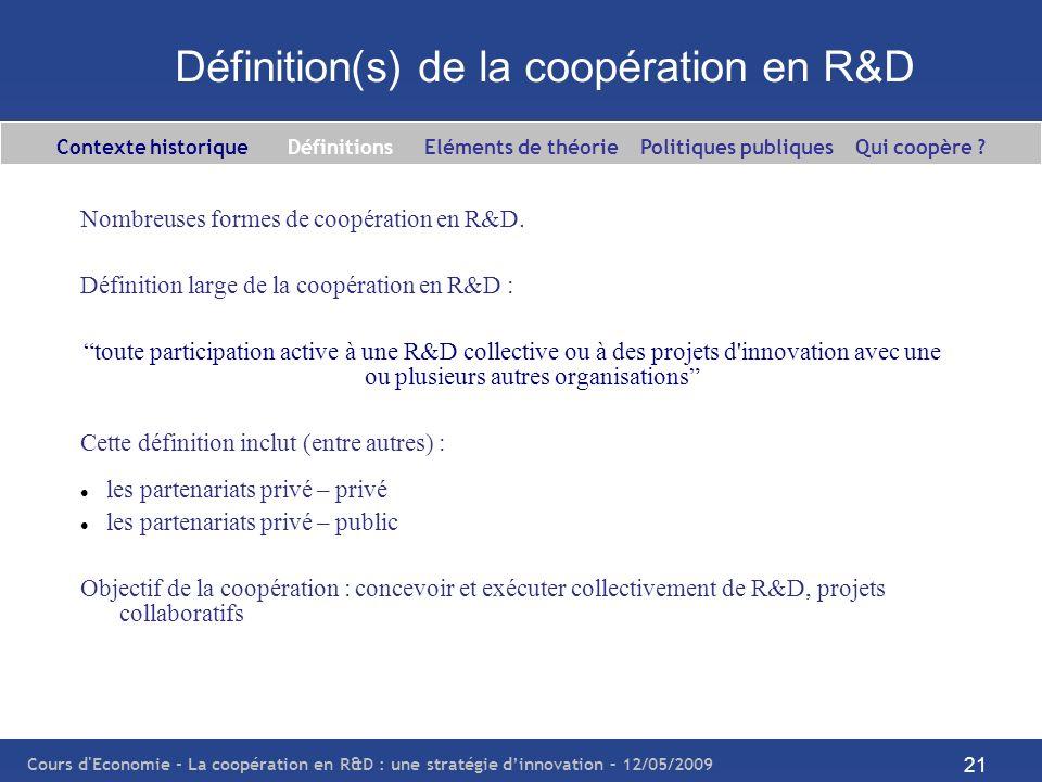 Cours d'Economie - La coopération en R&D : une stratégie dinnovation – 12/05/2009 21 Définition(s) de la coopération en R&D Nombreuses formes de coopé