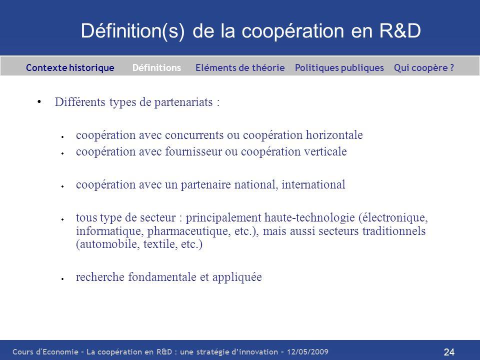 Cours d'Economie - La coopération en R&D : une stratégie dinnovation – 12/05/2009 24 Définition(s) de la coopération en R&D Différents types de parten