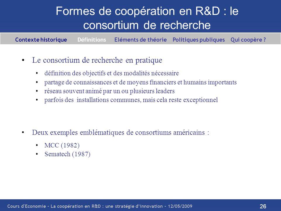 Cours d'Economie - La coopération en R&D : une stratégie dinnovation – 12/05/2009 26 Formes de coopération en R&D : le consortium de recherche Le cons