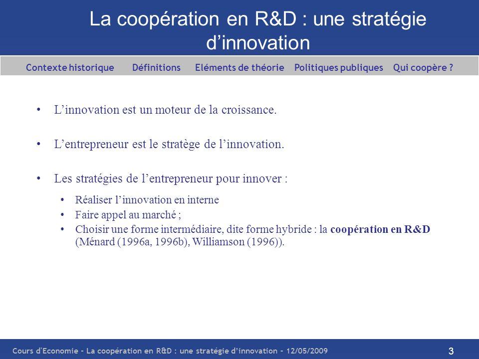 Cours d'Economie - La coopération en R&D : une stratégie dinnovation – 12/05/2009 3 La coopération en R&D : une stratégie dinnovation Linnovation est