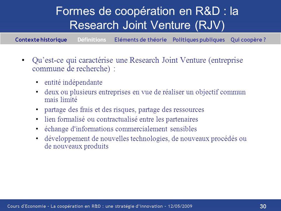 Cours d'Economie - La coopération en R&D : une stratégie dinnovation – 12/05/2009 30 Formes de coopération en R&D : la Research Joint Venture (RJV) Qu
