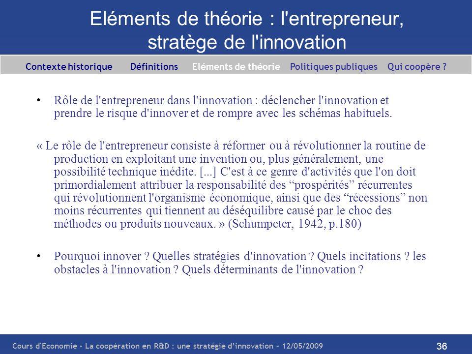 Cours d'Economie - La coopération en R&D : une stratégie dinnovation – 12/05/2009 36 Eléments de théorie : l'entrepreneur, stratège de l'innovation Rô