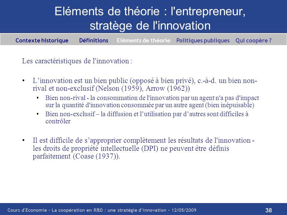 Cours d'Economie - La coopération en R&D : une stratégie dinnovation – 12/05/2009 38 Eléments de théorie : l'entrepreneur, stratège de l'innovation Le
