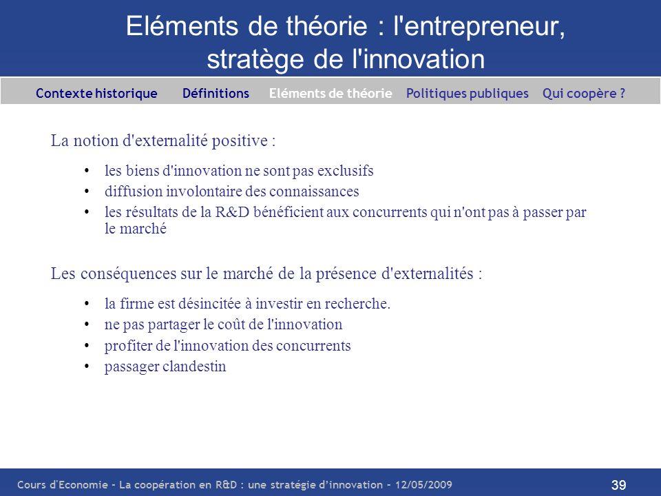 Cours d'Economie - La coopération en R&D : une stratégie dinnovation – 12/05/2009 39 Eléments de théorie : l'entrepreneur, stratège de l'innovation La