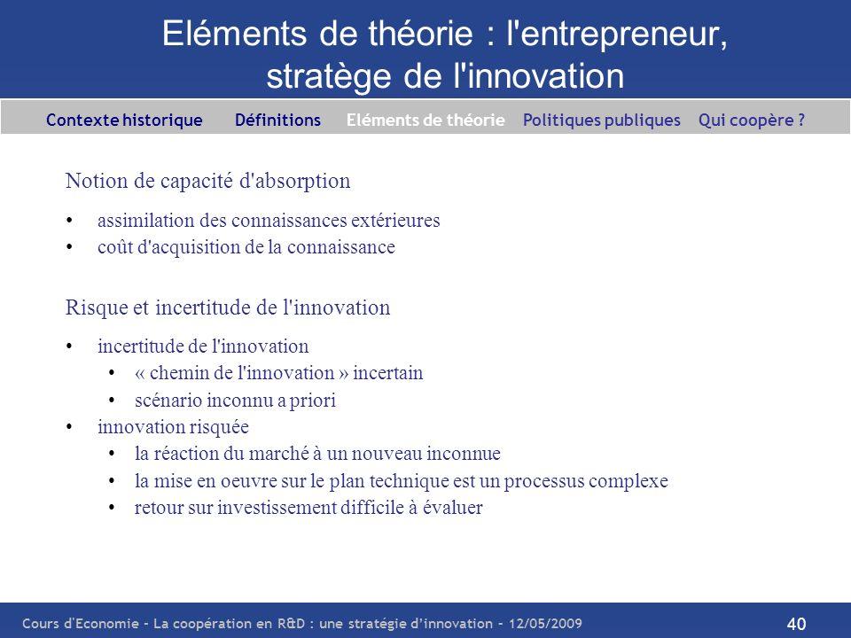Cours d'Economie - La coopération en R&D : une stratégie dinnovation – 12/05/2009 40 Eléments de théorie : l'entrepreneur, stratège de l'innovation No