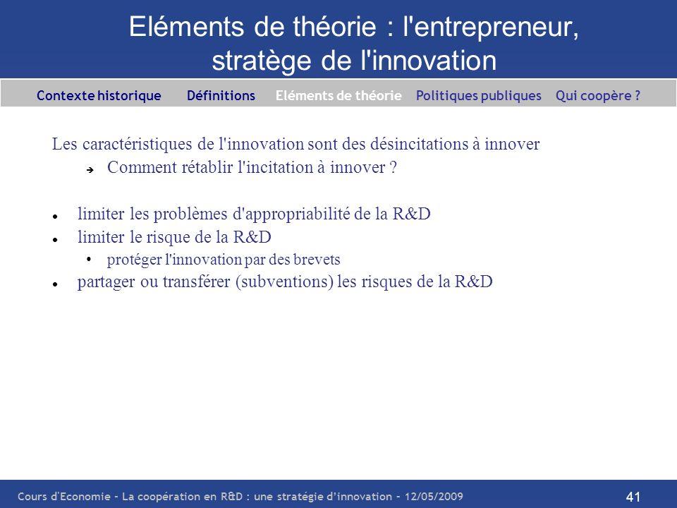 Cours d'Economie - La coopération en R&D : une stratégie dinnovation – 12/05/2009 41 Eléments de théorie : l'entrepreneur, stratège de l'innovation Le