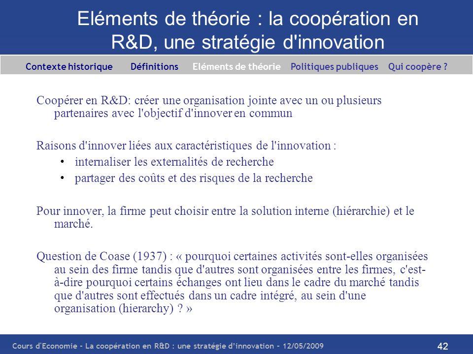 Cours d'Economie - La coopération en R&D : une stratégie dinnovation – 12/05/2009 42 Eléments de théorie : la coopération en R&D, une stratégie d'inno