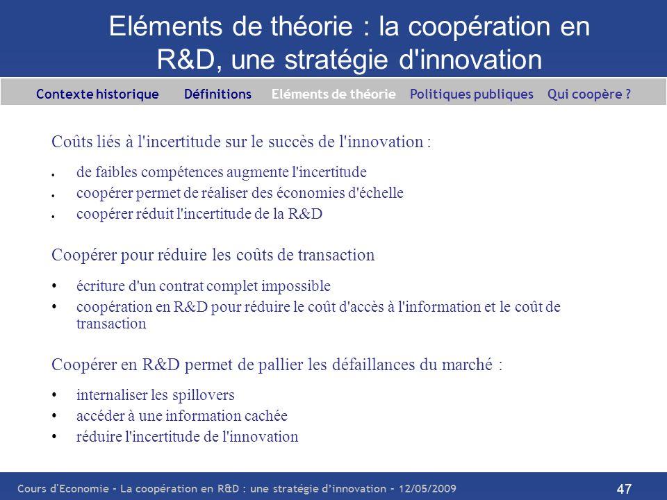 Cours d'Economie - La coopération en R&D : une stratégie dinnovation – 12/05/2009 47 Eléments de théorie : la coopération en R&D, une stratégie d'inno