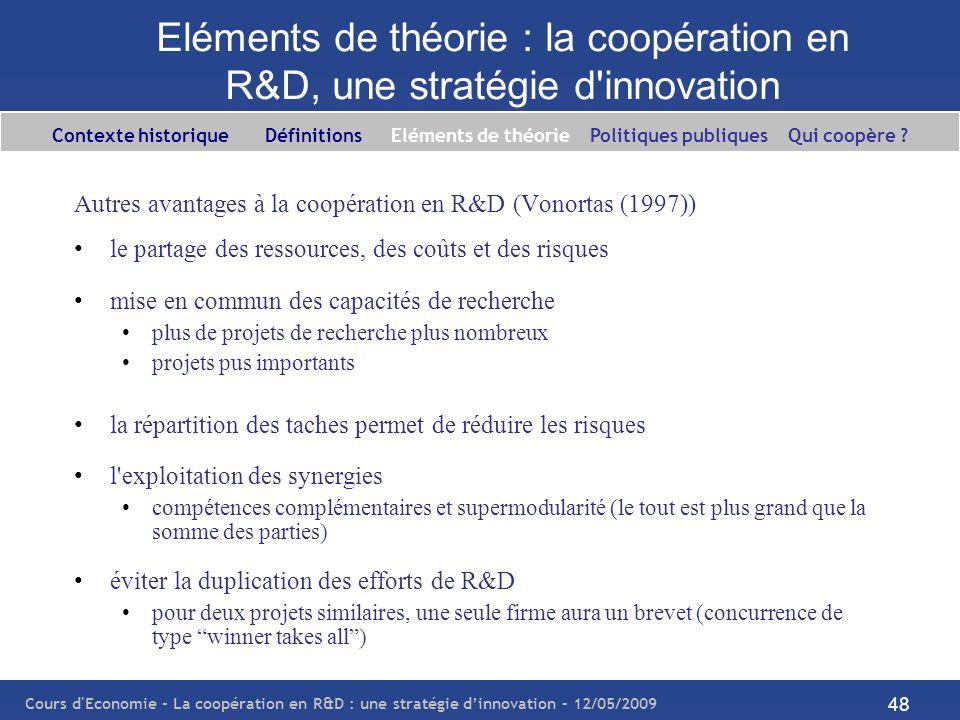 Cours d'Economie - La coopération en R&D : une stratégie dinnovation – 12/05/2009 48 Eléments de théorie : la coopération en R&D, une stratégie d'inno