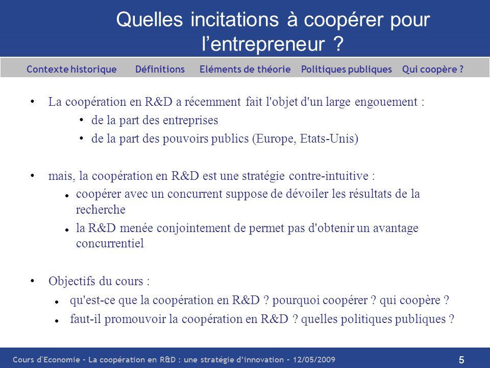 Cours d'Economie - La coopération en R&D : une stratégie dinnovation – 12/05/2009 5 Quelles incitations à coopérer pour lentrepreneur ? La coopération