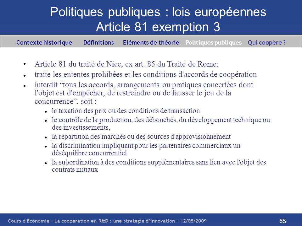 Cours d'Economie - La coopération en R&D : une stratégie dinnovation – 12/05/2009 55 Politiques publiques : lois européennes Article 81 exemption 3 Ar
