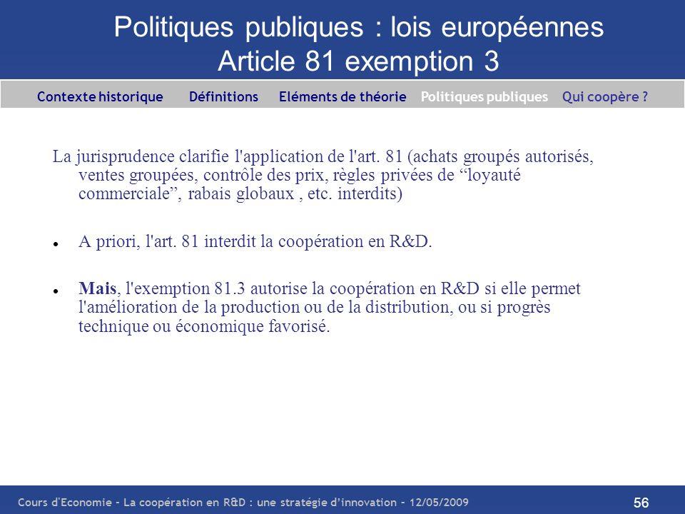 Cours d'Economie - La coopération en R&D : une stratégie dinnovation – 12/05/2009 56 Politiques publiques : lois européennes Article 81 exemption 3 La