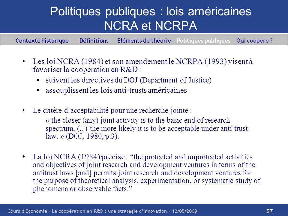 Cours d'Economie - La coopération en R&D : une stratégie dinnovation – 12/05/2009 57 Politiques publiques : lois américaines NCRA et NCRPA Les loi NCR