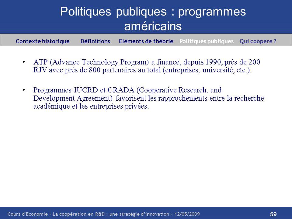 Cours d'Economie - La coopération en R&D : une stratégie dinnovation – 12/05/2009 59 Politiques publiques : programmes américains ATP (Advance Technol