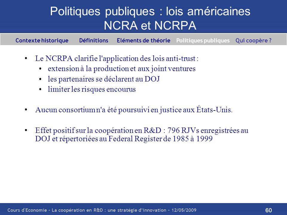 Cours d'Economie - La coopération en R&D : une stratégie dinnovation – 12/05/2009 60 Politiques publiques : lois américaines NCRA et NCRPA Le NCRPA cl