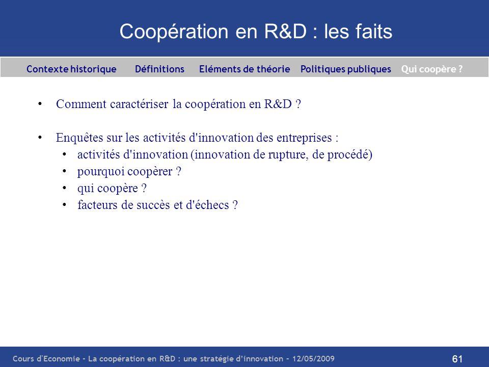 Cours d'Economie - La coopération en R&D : une stratégie dinnovation – 12/05/2009 61 Coopération en R&D : les faits Comment caractériser la coopératio