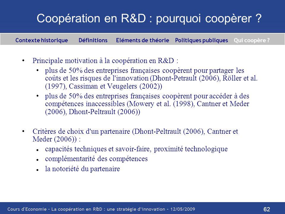 Cours d'Economie - La coopération en R&D : une stratégie dinnovation – 12/05/2009 62 Coopération en R&D : pourquoi coopèrer ? Principale motivation à