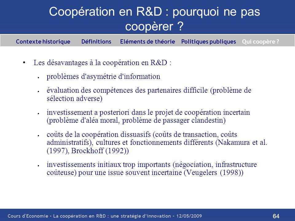 Cours d'Economie - La coopération en R&D : une stratégie dinnovation – 12/05/2009 64 Coopération en R&D : pourquoi ne pas coopèrer ? Les désavantages