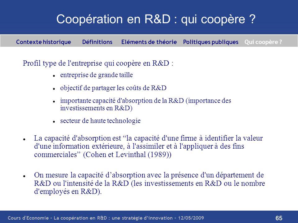 Cours d'Economie - La coopération en R&D : une stratégie dinnovation – 12/05/2009 65 Coopération en R&D : qui coopère ? Profil type de l'entreprise qu