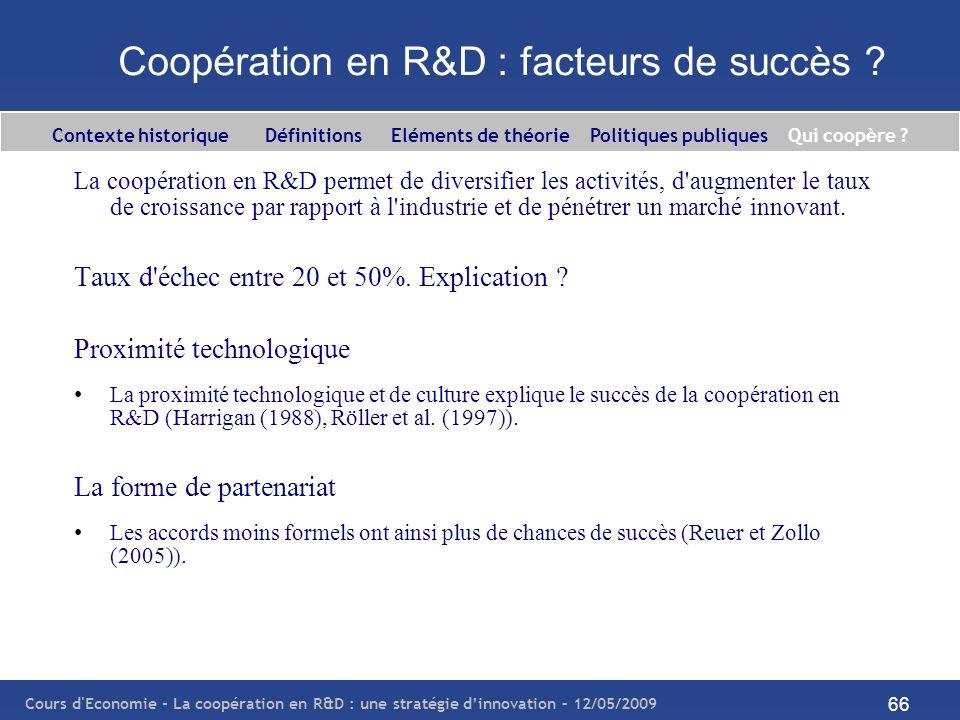 Cours d'Economie - La coopération en R&D : une stratégie dinnovation – 12/05/2009 66 Coopération en R&D : facteurs de succès ? La coopération en R&D p
