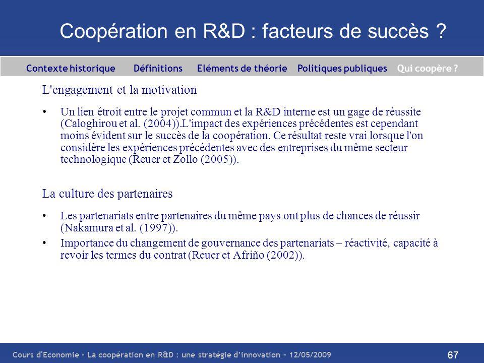 Cours d'Economie - La coopération en R&D : une stratégie dinnovation – 12/05/2009 67 Coopération en R&D : facteurs de succès ? L'engagement et la moti