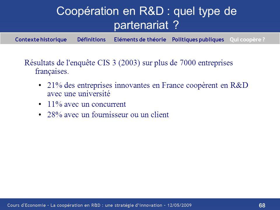 Cours d'Economie - La coopération en R&D : une stratégie dinnovation – 12/05/2009 68 Coopération en R&D : quel type de partenariat ? Résultats de l'en