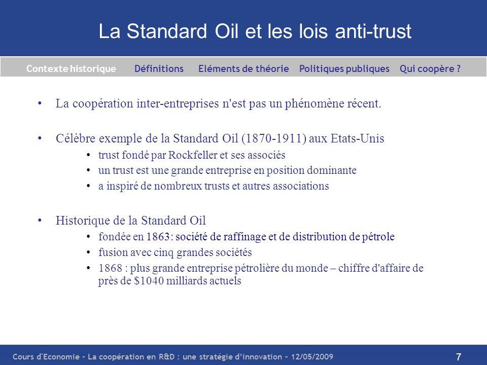 Cours d'Economie - La coopération en R&D : une stratégie dinnovation – 12/05/2009 7 La Standard Oil et les lois anti-trust La coopération inter-entrep
